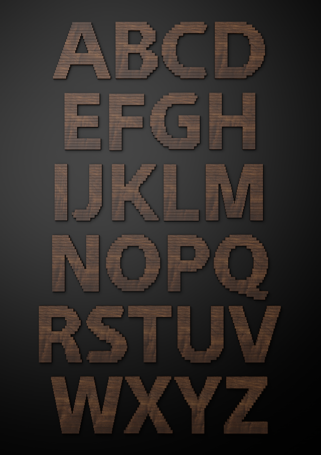 Efeito de texto com pedaços de madeira por Txaber (27)