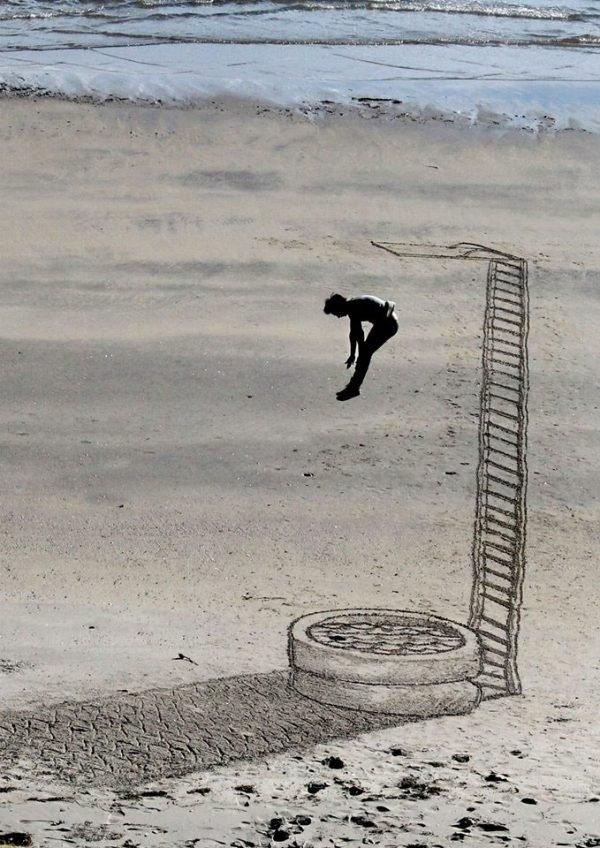 Desenhos criativos 3D feitos na areia da praia (7)